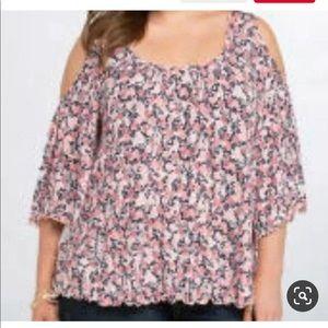 Torrid Floral Open Shoulder Sleeve Top Size 3